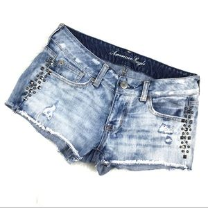 American Eagle Denim Studded Jean Cut Off Shorts